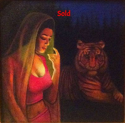 Kali and Her Tiger of Compassion / 12 x 12 / Acrylic on Panel / $1,500