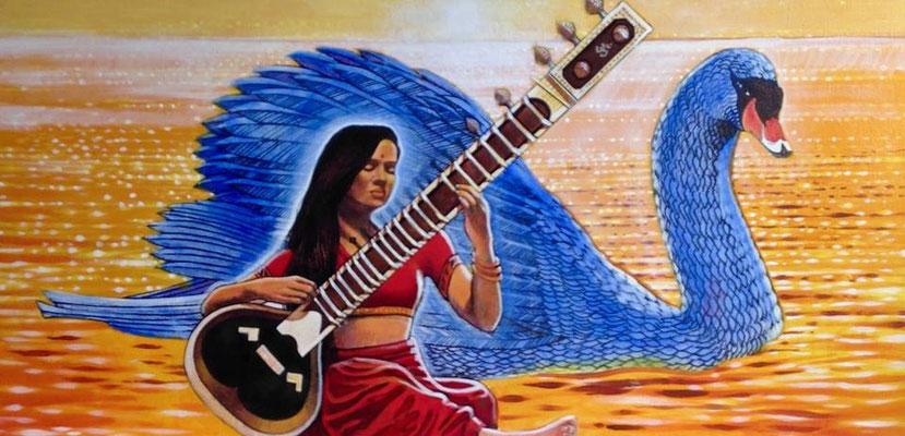Saraswati and the Swan / 15 x 30 / Acrylic on Canvas / $2,500