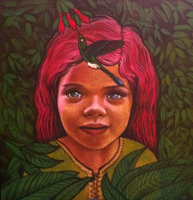 Rosely and the Humming Bird / 12 x 12 / Acrylic on Panel / $1,500