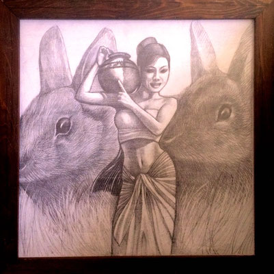 Eastra and her Rabbits pencil on panel/ $1,500