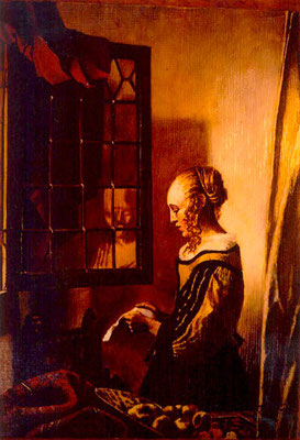 She Read a Letter/ after Vermeer/ Sold