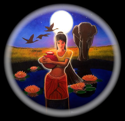 The Goddess Eastra/Acrylic on Panel/ 15 inches diameter/$2,000