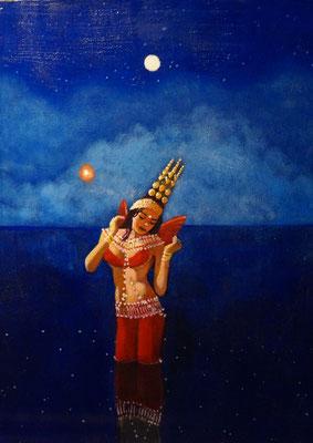 The Mermaid in Thailand / 15 x 12 / Acrylic on Panel / $2,500