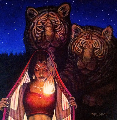 Kali and Her Tigers of Compassion / 12 x 12 / Acrylic on Panel / $1,500