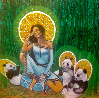 Quan Yin and the Panda Saints / 12 x 12 / Acrylic on Panel / $1,500