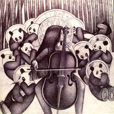 The Panda Goddess Plays Cello / $1,500