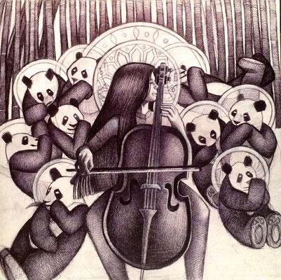 The Panda Goddess Plays Cello / $1,500