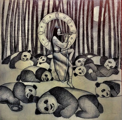 The Panda Goddess Play Flute/ $1,500