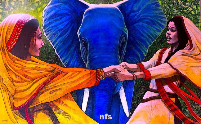 Ganesh, Lakshmi and Saraswati Dance for Joy/ Acrylic on Panel/ Not for sale.