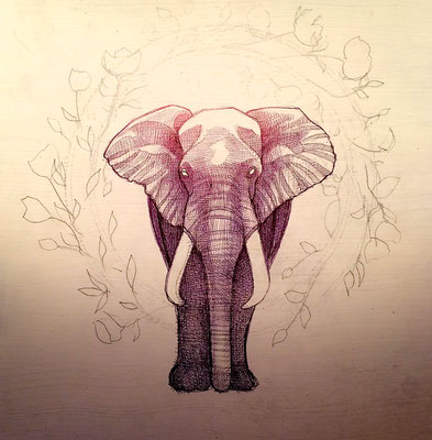 The Elephant of Power/black ink on panel/ $500.