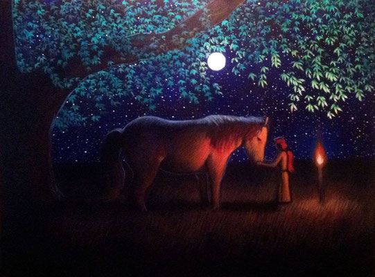 Roselyn and Path Finder Talk to the Moon / 18 x 24 / $2,000