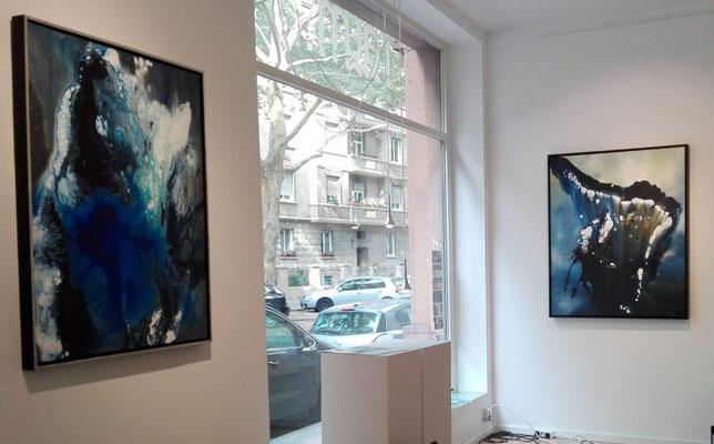 """Ausstellungsansicht """"Agua (li.), Release (re.)"""""""