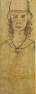 dame-mit-hut-2015-kohle-a-pergament-35x60