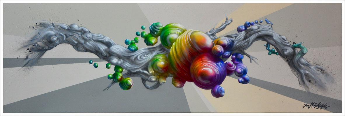 """Klumpen"" - Jan-Malte Strijek - Acryl-Mischtechnik auf Leinwand - 30x90cm, 2016"