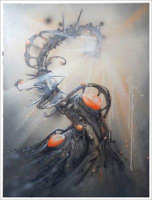 """""""Individuum-Langfristige Betrachtung"""" - Jan-Malte Strijek - Acryl-Mischtechnik auf Leinwand - 80x60cm, 2016"""