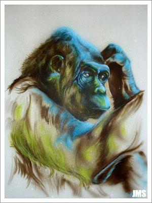 """""""Bonobo"""" - Jan-Malte Strijek - Acryl-Mischtechnik auf Leinwand - 60 x 80 cm - 2012 - verkauft"""