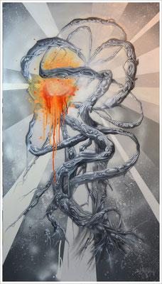 """""""Slice of Orange"""" - Jan-Malte Strijek - Acryl-Mischtechnik auf Leinwand - 140x80cm, 2016"""