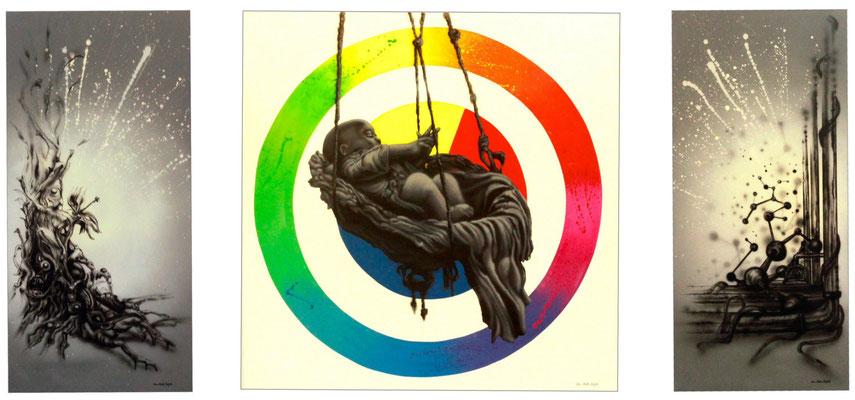 """Triptychon """"Welcome in the Circle"""" - Jan-Malte Strijek - Acryl-Mischtechnik auf Leinwand - 2013"""