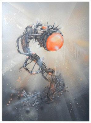 """""""Individuum- Mittelfristige Betrachtung"""" - Jan-Malte Strijek - Acryl-Mischtechnik auf Leinwand - 80x60cm, 2016"""