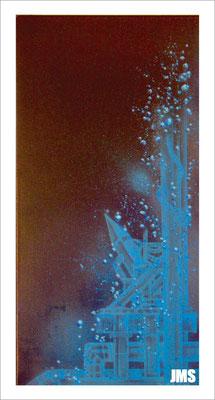"""""""Blasen - Asien"""" - Jan-Malte Strijek - Acryl-Mischtechnik auf Leinwand - 40 x 80 cm - 2009"""