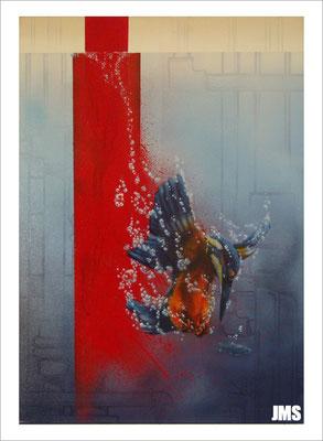"""""""Grenzfänger"""" - Jan-Malte Strijek - Acryl-Mischtechnik auf Leinwand - 70 x 100 cm - 2007  - verkauft"""