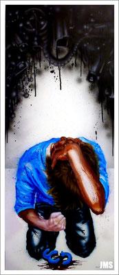 """Day by Day"" - Jan-Malte Strijek - Acryl-Mischtechnik auf Leinwand - 140 x 60 cm - 2013"