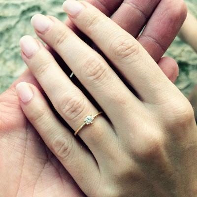 Verlobungsring in Gelbgold 750 mit einem Diamanten