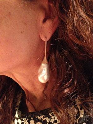 Ohrhänger in Gelbgold 750 mit Barockperlen