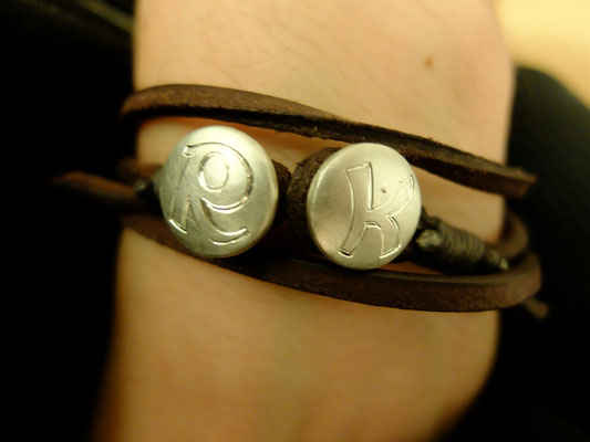 Lederarmband in Silber 925 mit Initialen