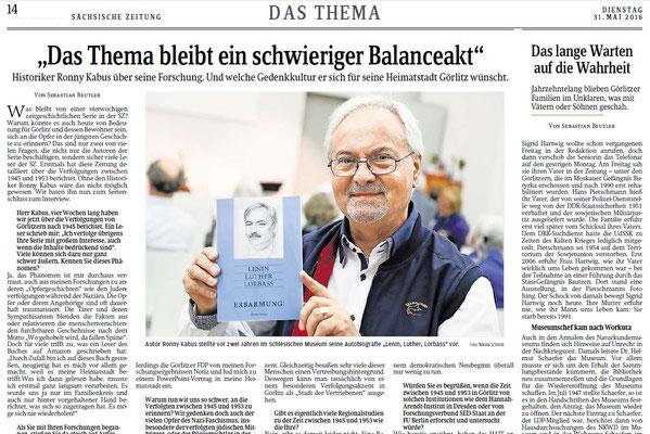 Letzter Beitrag der Sächsischen Zeitung Görlitz zu einer 19-teiligen Artikelserie vom 3. bis 31. Mai 2016 über das Nachkriegsjahrzehnt unter sowjetischer Besatzung