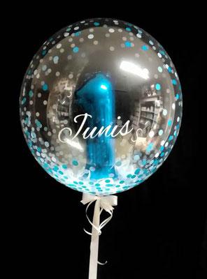Bubble Ballon Luftballon Geburtstag Überraschung Geschenk Mitbringsel Herz Alter Name Personalisierung personalisiert Hochzeit Geburtstag Taufe Firmung Kommunion Helium Glückwunsch beschriftet individuell Versand Konfetti Konfettiballon