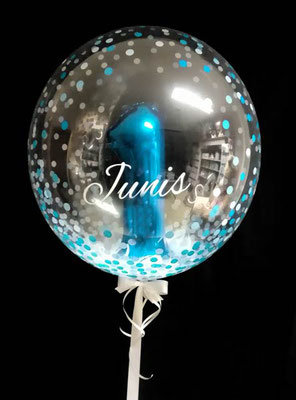 Bubble Ballon Luftballon Geburtstag 1 Überraschung Geschenk Mitbringsel Herz Alter Name Personalisierung personalisiert Hochzeit Geburtstag Taufe Firmung Kommunion Helium Glückwunsch beschriftet individuell Versand Konfetti Konfettiballon