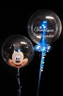 Bubble Ballon Mickey Mouse 1 Luftballon Geburtstag Überraschung Geschenk Mitbringsel Herz Alter Name Personalisierung personalisiert Hochzeit Geburtstag Taufe Firmung Kommunion Helium Glückwunsch beschriftet individuell Versand Konfetti Konfettiballon