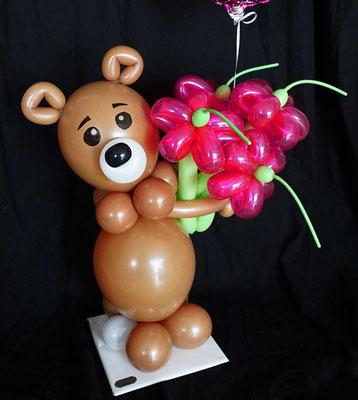 Luftballon Ballon Geschenk Dekoration Blumen witzig süß exklusiv Blumenstrauß Teddy Kindergeburtstag Geburtstag