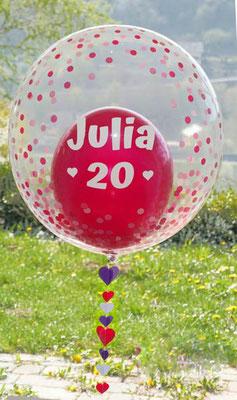 Bubble Ballon Luftballon Geburtstag Überraschung 20 Geschenk Mitbringsel Herz Alter Name Personalisierung personalisiert Hochzeit Geburtstag Taufe Firmung Kommunion Helium Glückwunsch beschriftet individuell Versand Konfetti Konfettiballon