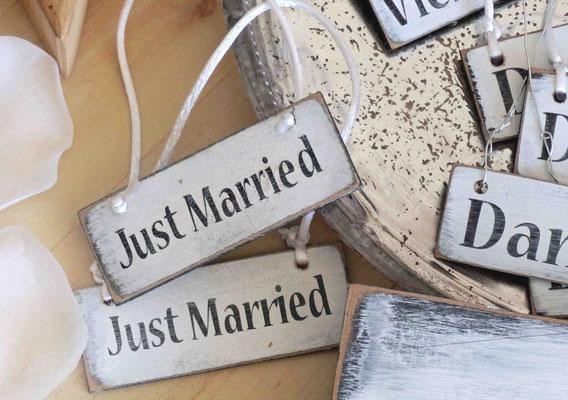 Holzschilder Shabby-Look Hochzeit Vintage Geschenk-Anhänger Just Married Holzschild