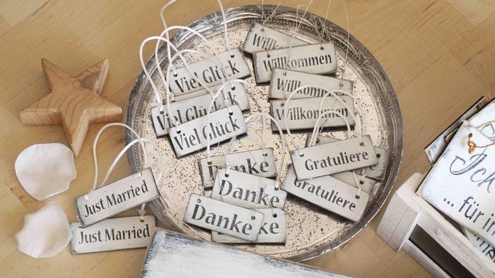 Holzschilder Shabby-Look Hochzeit Vintage Geschenk-Anhänger Danke Just Married Gratuliere Holzschild