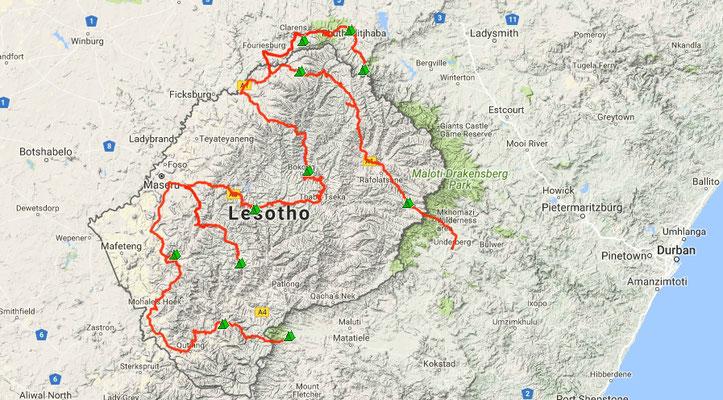 unsere Route und Übernachtungsplätze in Lesotho