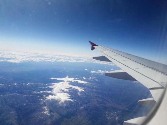 Heimflug von Athen nach Wien ..