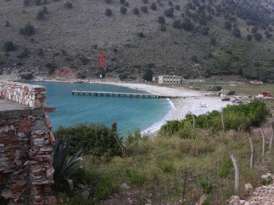 unser Standplatz am wunderbaren Strand an der albanischen Riviera