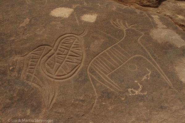 Steingravuren auf der Piste zw Iche und Figuig