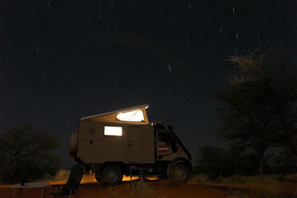 Sternenhimmel überm Cappuccino in der Kalahari