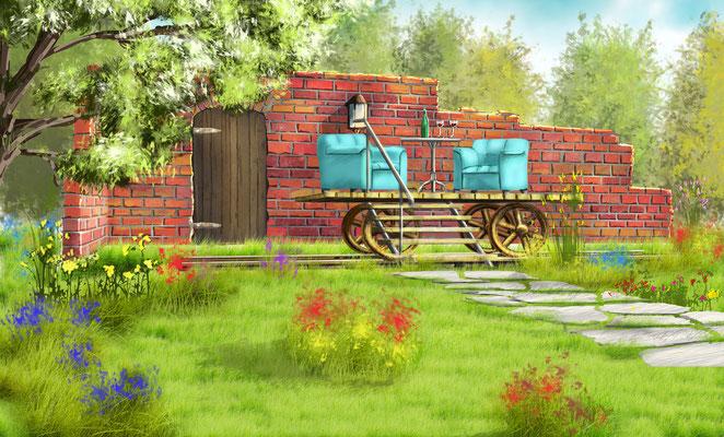 Garten mit Draisine-Terrasse (Kräft 2015)