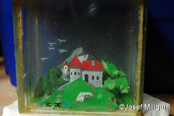 Einsamer Ritter eine Burg erstürmend (3 Dimensional)
