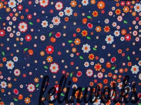 dunkelblau mit Blumen