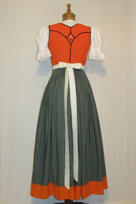 Dirndl grün-orange-creme