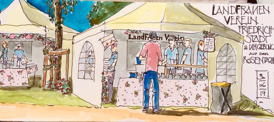 Zeichnung von Octavia Zille/Landfrau aus Friedrichstadt