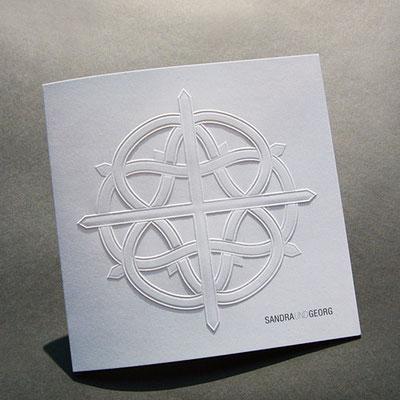 Blindprägung Hochzeitskarte