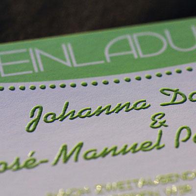Einladungskarten / Hochzeitskarten im Offsetdruck und Reliefdruck