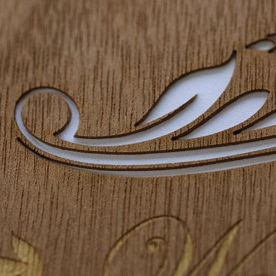 Holz Visitenkarten kaschiert.